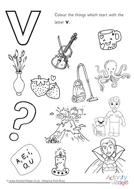 colors that start with v start with the letter v colouring page