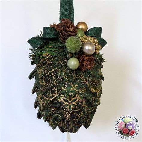 pine cone quilted christmas ornament gold and green