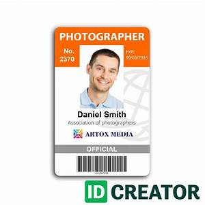 Photographer id card call 1855make ids with questions for Photographer id card template