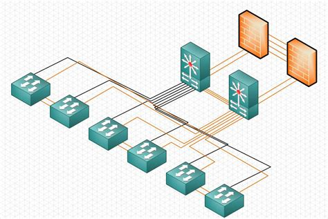 isometric network diagram clipart
