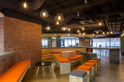 rustic open concept offices brick  wood
