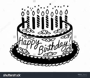 happy birthday cake clipart black and white - Clipground