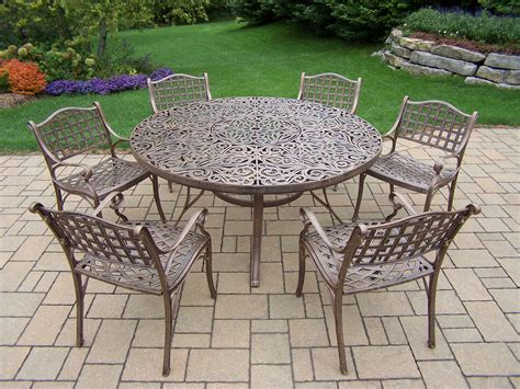 oakland living aluminum 7 pc patio dining set w 60 inch