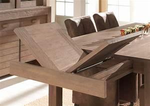 Table de salle a manger bois massif avec rallonge for Meuble de salle a manger avec salle a manger en teck