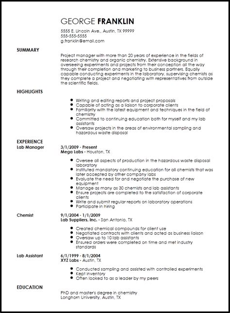Building A Professional Resume by Free Professional Chemist Resume Template Resume Now