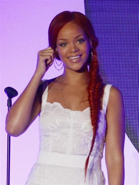 rihanna red braided hairstyle long hairstyles  braid