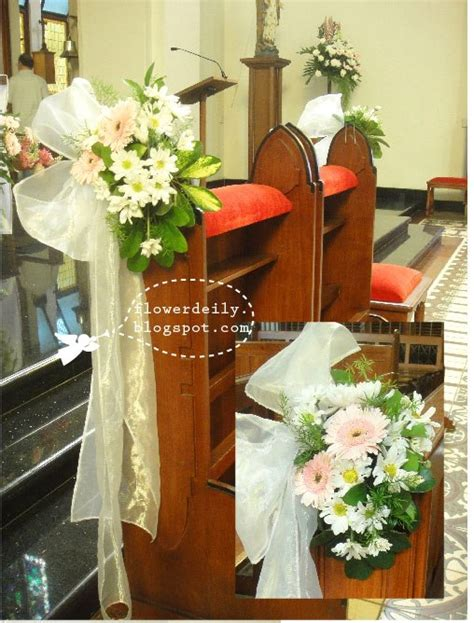 simple pink colored wedding church decor flower daily blog