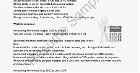 Resume Script For Accounting by Resume Sles Accounting Technician Resume Sle