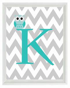 chevron initial letter art print owl nursery by rizzleandrugee With chevron letter k
