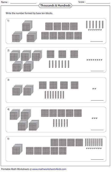 thousands hundreds tens ones sheet 1 sheet 2 sheet 3 math base ten blocks math sheets