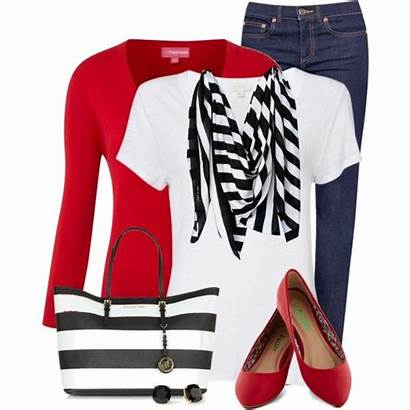 Outfits Summer Stripes Outfit Polyvore Casual Flats