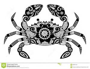 zentangle crab for coloring book for shirt design logo and so on