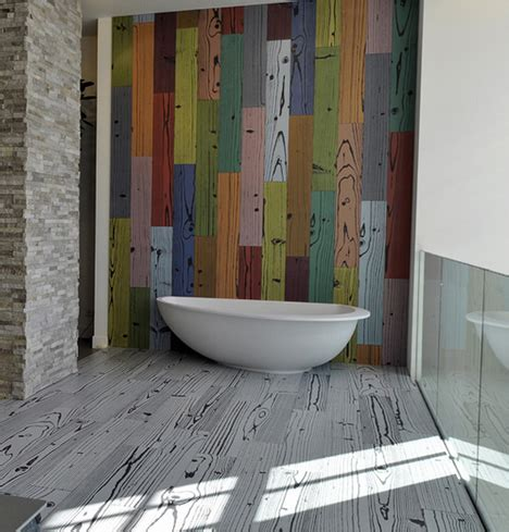 colorful kitchen backsplashes fancifully warhol colored wood grain floor tiles
