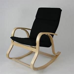 Rocking Chair Tissu : rocking chair fauteuil bascule relaxant noir achat vente fauteuil bois h tre tissu ~ Teatrodelosmanantiales.com Idées de Décoration