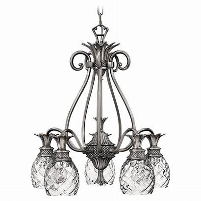 Pineapple Nickel Chandelier Antique Glass Clear Polished