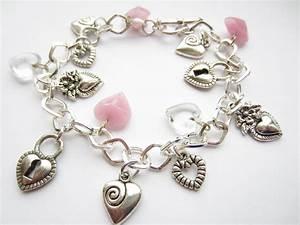 Silver Charm Bracelet, Hearts Charm Bracelet, Pink Hearts ...