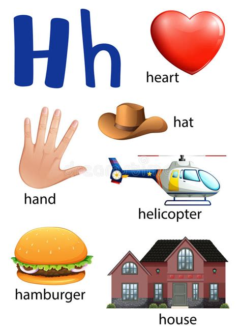 vector illustration of things that start with the letter o things that start with the letter h stock vector 12147