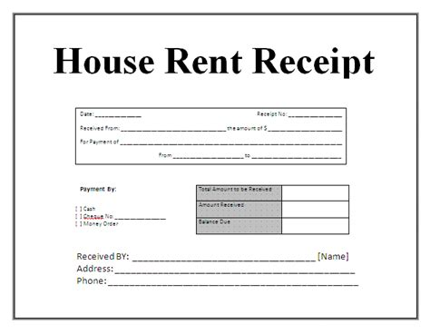 free house rental invoice receipt template invoice