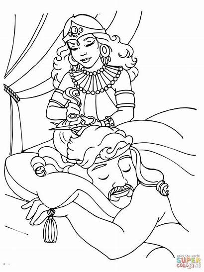Samson Coloring Pages Delilah Hair Cutting Bible