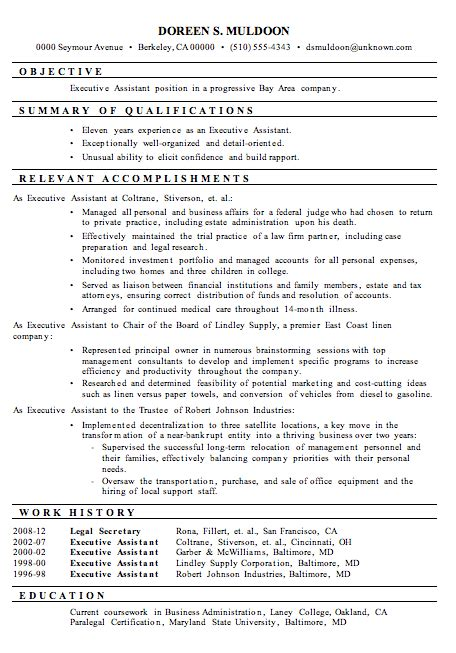 resume sle executive assistant