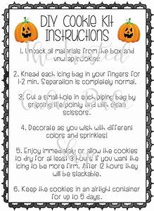 Halloween Cookie Kit Instructions