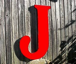 Wooden letters distressed red j 24 large sign wall decor for J letter decor