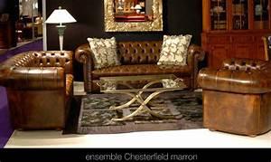 Salon En Anglais : salon chesterfield en cuir de vachette coloris marron patin longfield 1880 ~ Preciouscoupons.com Idées de Décoration