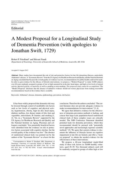 modest proposal   longitudinal study
