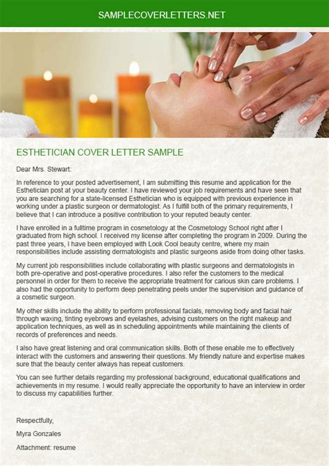 esthetician cover letter esthetician cover letter sle sle cover letters