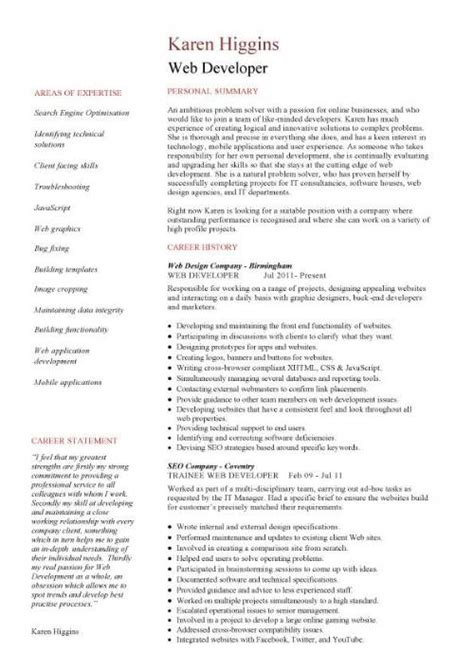 Web Developer Cv Template by Web Designer Cv Sle Exle Description Career History Academic Qualifications Cvs