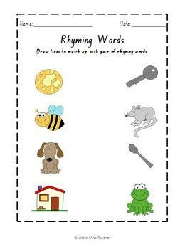 rhyming word worksheets    teacher tpt