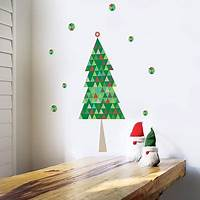 trending tree wall decals Trendy Peas Modern Christmas Tree Fabric Wall Decal - Walmart.com