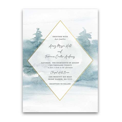 geometric frame wedding menu forest tree outdoor woodsy theme
