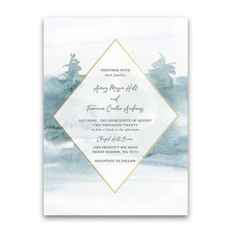 Geometric Frame Wedding Invitation Forest Tree Watercolor