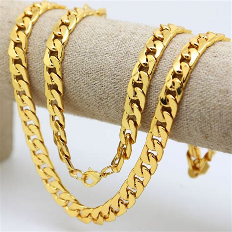 """10mm /30""""inch Real 24K Yellow Gold Plated Solid Cuban Curb"""