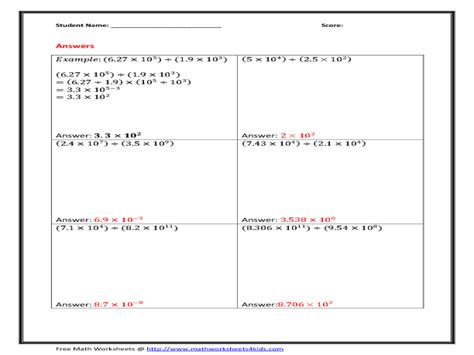 worksheets multiplying and dividing scientific notation