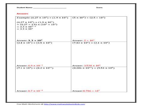 scientific notation multiplication worksheet free