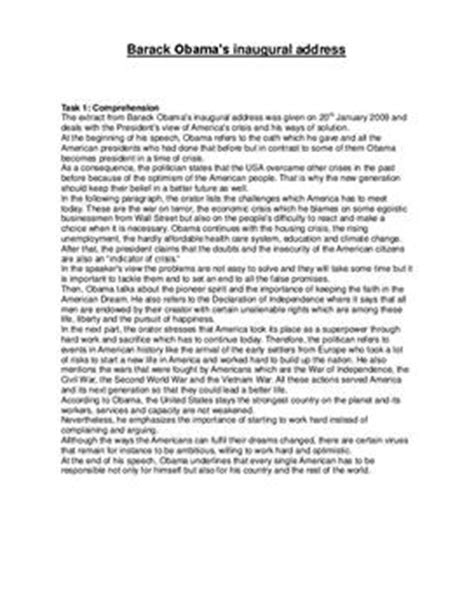 obamas inaugural address redeanalyse schulhilfede