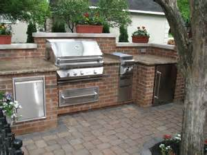 kitchen island cooktop brick granite limestone outdoor kitchen traditional