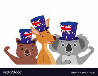 Kangaroo Flag Koala Australian Wombat Hat Vector