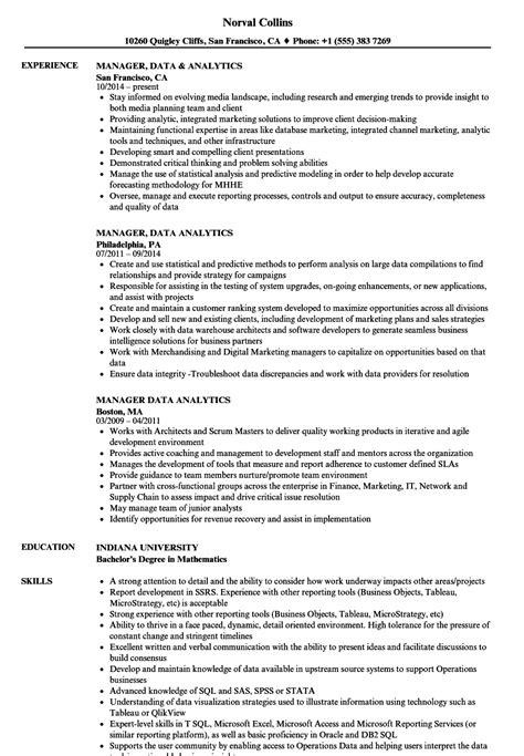manager data analytics resume samples velvet jobs