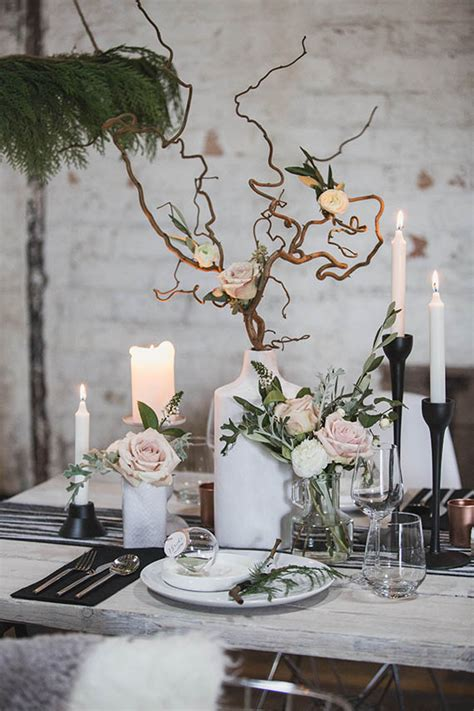 winter branch centerpieces scandinavian winter wedding ideas rustic decor 100 layer cake