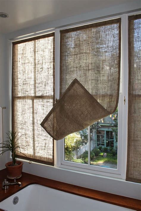 Blinds And Window Coverings by Last Week I Made Some New Burlap Window Coverings For The