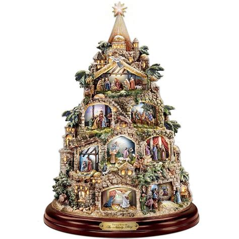 lighted christmas tree decoration thomas kinkade musical lighted christmas tree nativity