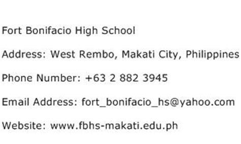 high school phone number fort bonifacio high school address contact number of fort