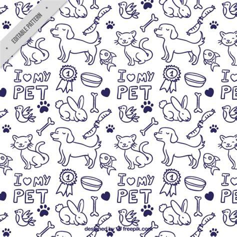 hand drawn animals pattern vector