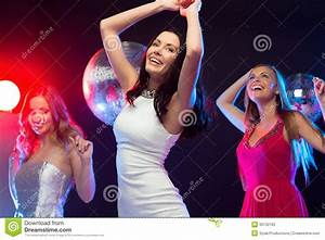 Three Smiling Women Dancing In The Club Stock Image ...