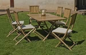 Set De Table En Bambou : salon de jardin bambou san remo 6 places avec coussins cru ~ Premium-room.com Idées de Décoration