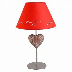 Lampe De Chevet Metal : lampe de chevet m tal peint argent motif coeur abat jour rouge h44 luminaires ~ Melissatoandfro.com Idées de Décoration