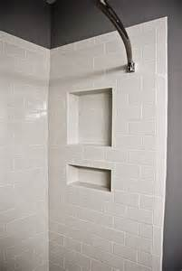 White Subway Tile Shower with Bullnose